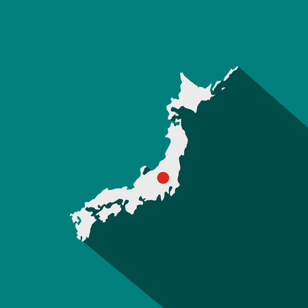 tokyo prefecture: Map of Japan icon in flat style on a blue background