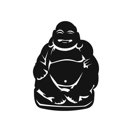 plenitude: Hotei or Budai, Japanese Netsuke icon in simple style isolated on white Illustration