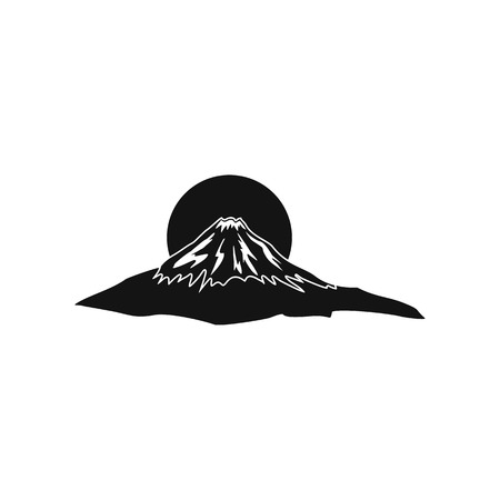 The sacred mountain of Fuji, Japan icon in simple style isolated on white
