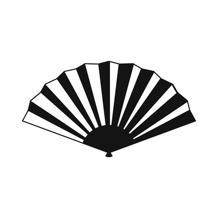 paper fan: Japanese folding fan icon in simple style isolated on white Illustration