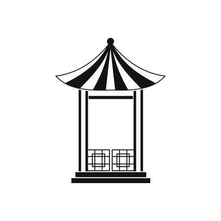 pavilion: A japanese lotus pavilion icon in simple style isolated on white Illustration