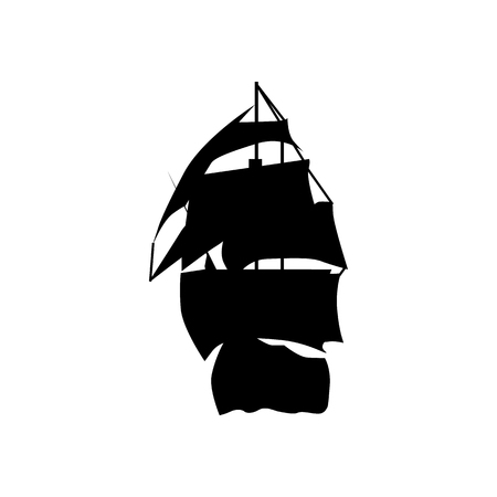 brigantine: Sailing ship silhouette isolated on white background