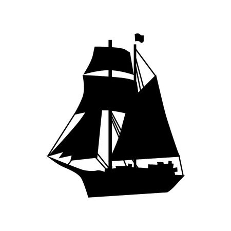 filibuster: Sailing ship silhouette isolated on white background