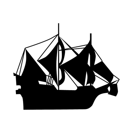 ferry boat: Sailing ship silhouette isolated on white background