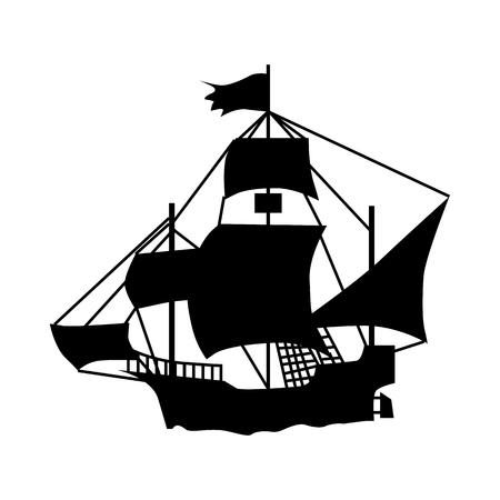 Segelschiff Silhouette auf weißem Hintergrund isoliert