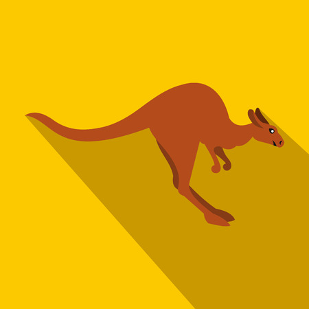 roo: Kangaroo icon in flat style on a yellow background