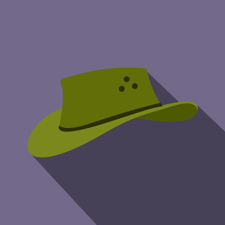 akubra: Cowboy hat icon in flat style on a violet background