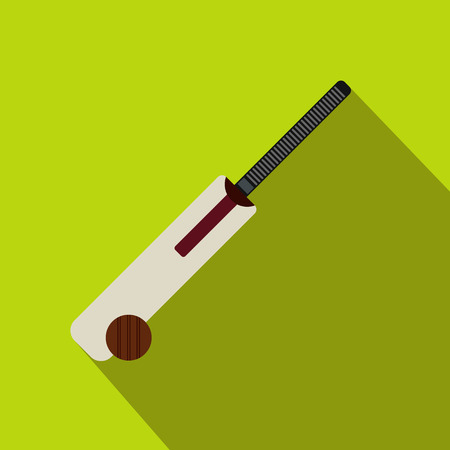 rival rivals rivalry season: Cricket bat and ball icon in flat style on a green background