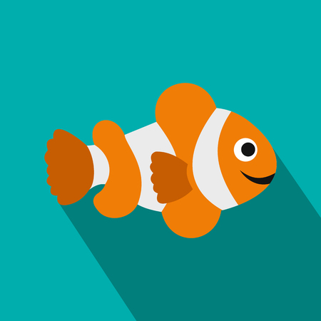 clownfish: Pez payaso icono de la bandera en el estilo plano sobre un fondo azul Vectores
