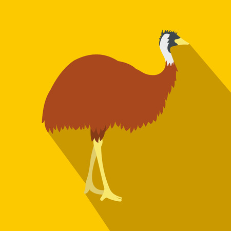 nomadic: Emu icon in flat style on a yellow background