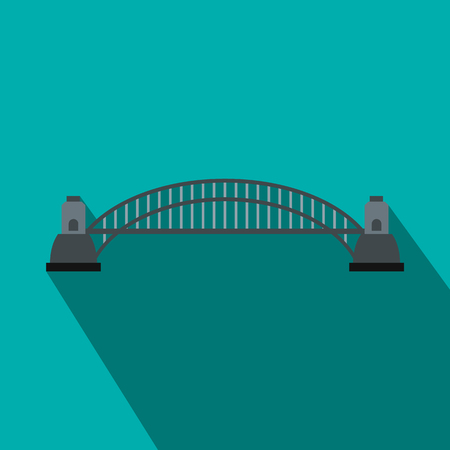 harbour: Sydney Harbour Bridge icon in flat style on a blue background