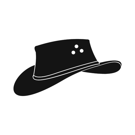 akubra: Cowboy hat icon in simple style isolated on white background
