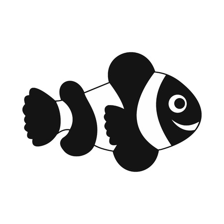 clownfish: Clownfish flag icon in simple style isolated on white background Illustration