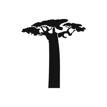 Baobab boom icoon in eenvoudige stijl op een witte achtergrond