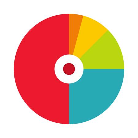 grafica de pastel: gráfico circular con un agujero en el centro del icono de estilo plano sobre un fondo blanco