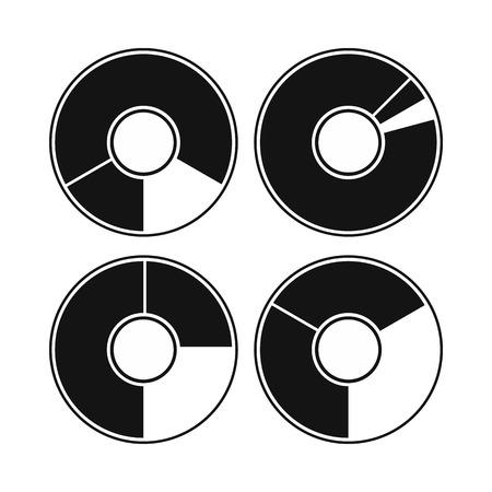 graficas de pastel: Los gráficos circulares con un agujero en el centro del icono de estilo simple aislado en el fondo blanco Vectores