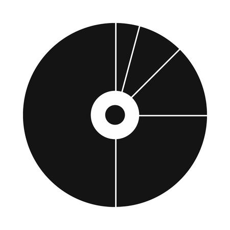 grafica de pastel: gráfico circular con un agujero en el centro del icono de estilo simple aislado en el fondo blanco Vectores