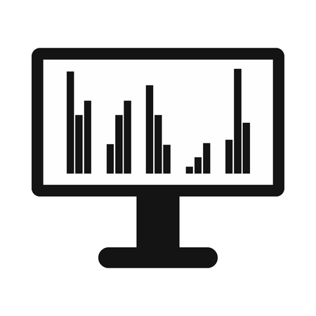 computer data: Computer screen with business graph icon in simple style isolated on white background