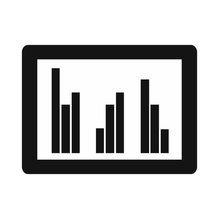 laptop icon: Tablet with charts icon in simple style isolated on white background Illustration