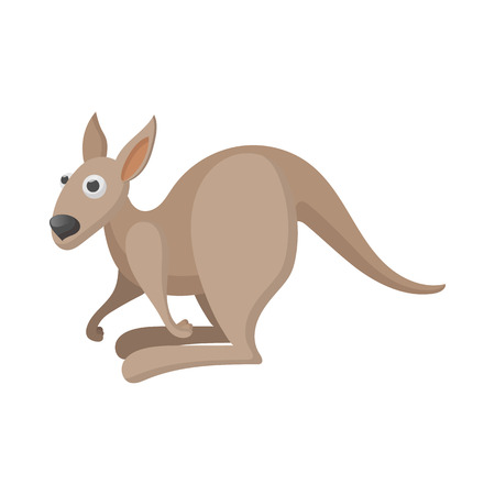 roo: Kangaroo icon in cartoon style on a white background Illustration