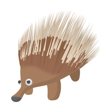 aussie: A borwn porcupine icon in cartoon style on a white background Illustration