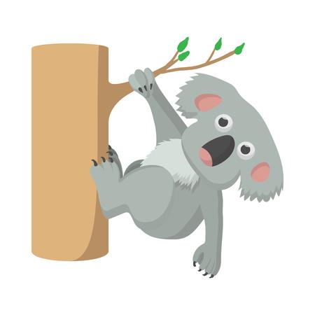 koala: icono koala en estilo de dibujos animados sobre un fondo blanco