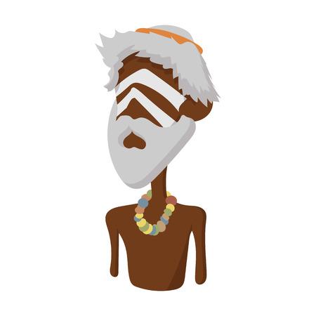 aborigen: icono aborigen australiano en el estilo de dibujos animados sobre un fondo blanco