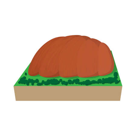dry land: Ayers Rock, Australia icon in cartoon style on a white  background