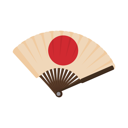 wooden circle: Japanese fan icon isolated on white background in cartoon style. Wooden fan with a red circle