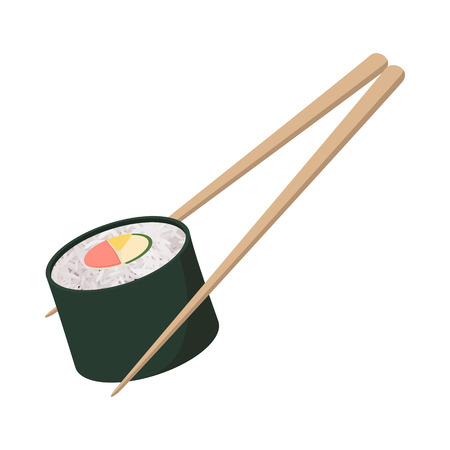 sushi roll: Sushi roll icon on white background in cartoon style. Chopsticks holding sushi roll