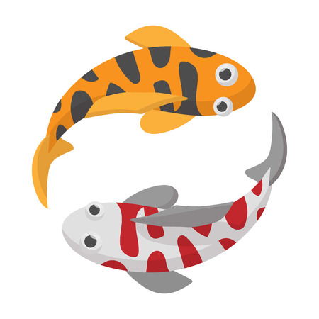 koi: Two koi fishes icon on white background in cartoon style. Koi fishes yin yang Illustration
