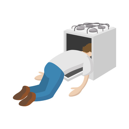 needy: A man put his head in the oven icon in cartoon style on a white  background