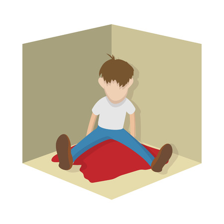 suicidal: Suicide icon in cartoon style on a white  background