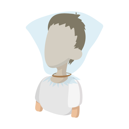 choking: A man with a plastic bag over his head icon in cartoon style on a white  background Illustration