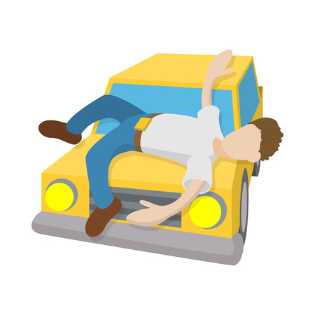 traffic violation: Man hit by a car icon in cartoon style on a white  background