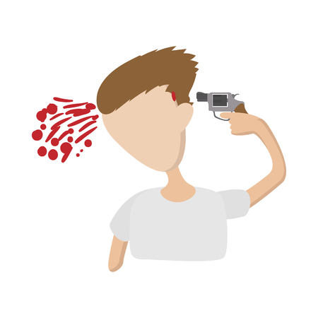 himself: A man commits suicide icon in cartoon style on a white  background