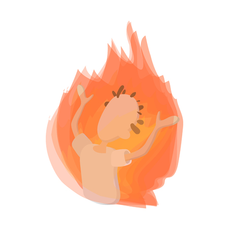 demonstrator: Man on fire icon in cartoon style on a white  background Illustration