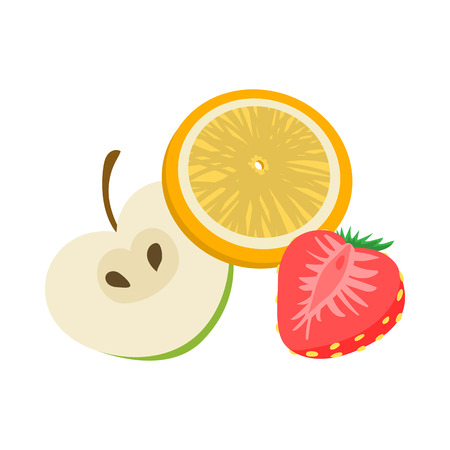 vaporized: Fruit flavor icon in cartoon style on a white  background Illustration