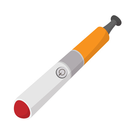 e cig: Electronic cigarette icon in cartoon style on a white  background Illustration