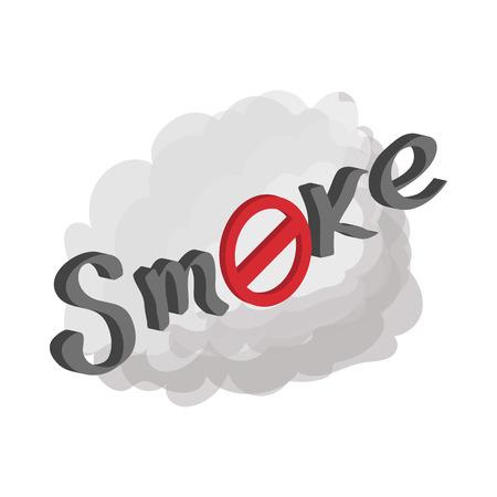 brandweer cartoon: Niet roken teken pictogram in cartoon-stijl op een witte achtergrond