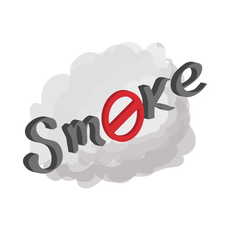 cartoon cloud: No smoking sign icon in cartoon style on a white  background Illustration