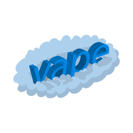 e cig: Vape word cloud icon in cartoon style on a white  background Illustration