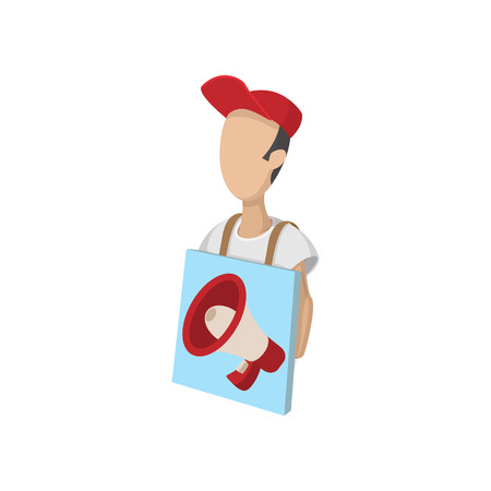 sandwiches: Sandwich board man icon, cartoon style, isolated on white. Street advertising concept