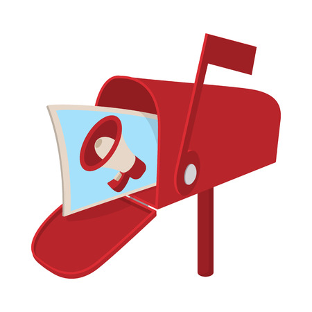 mailbox: Red mailbox icon with megaphone poster. Cartoon, isolated on white. Mail advertising concept Illustration