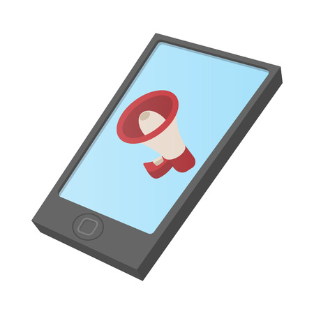 loudhailer: Computer tablet icon with megaphone on screen. Cartoon, isolated on white. Internet advertising concept