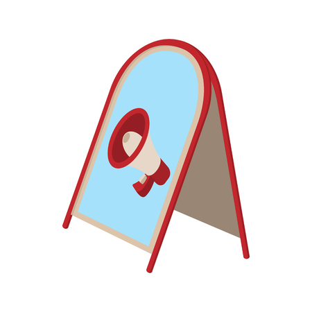 loudhailer: Metal folding advertising stand icon with megaphone image. Cartoon style on white. Street advertising concept Illustration