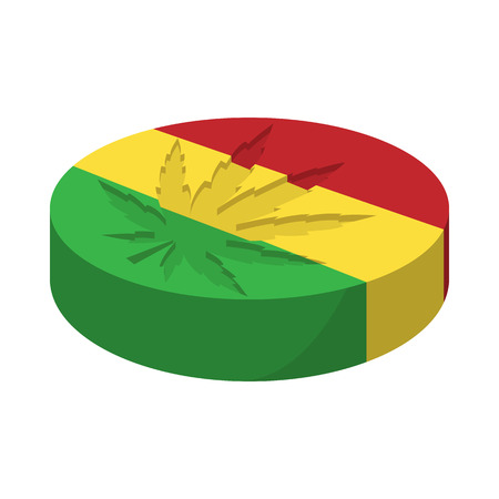 rastaman: Marijuana leaf with rastafarian colors icon in cartoon style on a white background