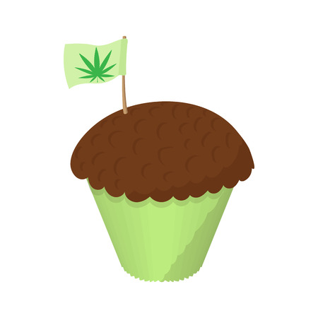 brownie: Cake with marijuana leaf icon in cartoon style on a white background