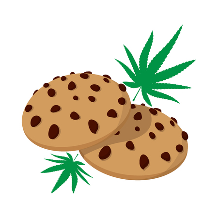 tetrahydrocannabinol: Chocolate chip cookies with marijuana lea icon in cartoon style on a white background