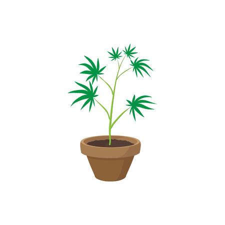 Cannabis plant dans une icône de pot dans le style de bande dessinée sur un fond blanc Illustration